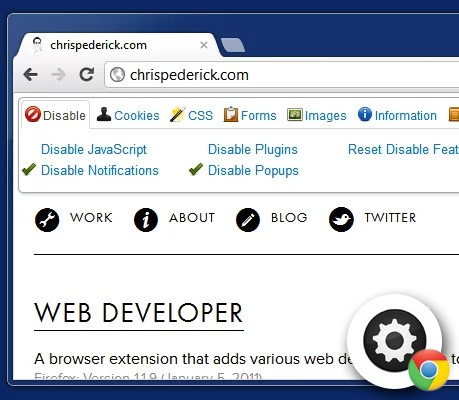 web developer chrome extension