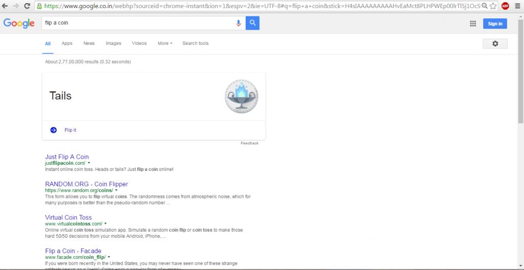 google secret flip a coin