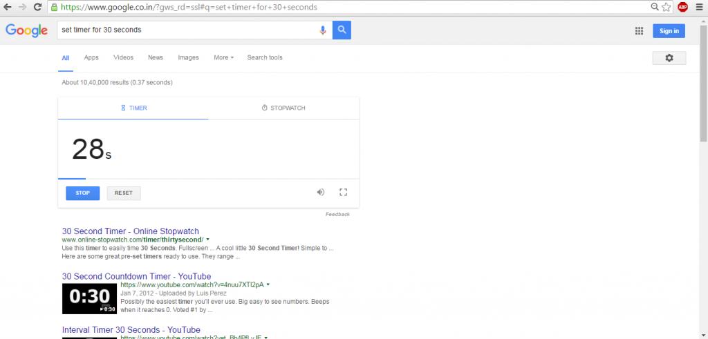google secret timer