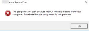 Fix msvcp100.dll missing